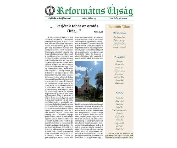 Nyári duplaszámmal érkezik a Református Újság