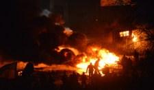 A kijevi tüntetők ismét felgyújtottak egy házat