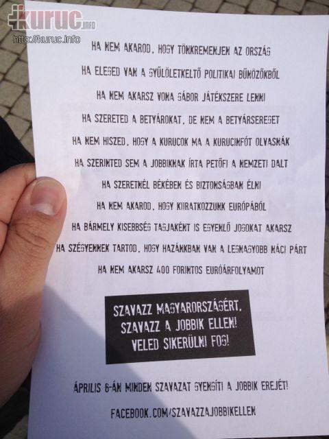 Nyíregyházán a Jobbik ellen uszított egy csoport a központi rendezvényen
