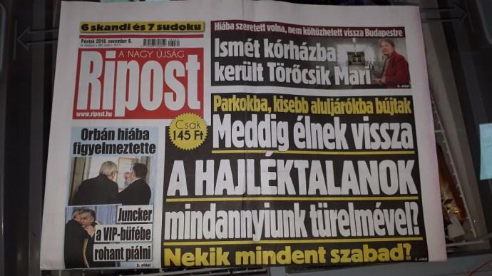 Kommentár nélkül: a fideszes bulvárlap mai címlapja