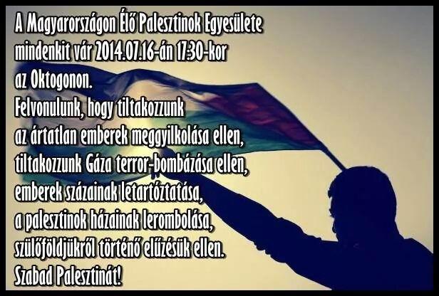A gázai mészárlás ellen tüntetnek szerdán az Oktogonnál