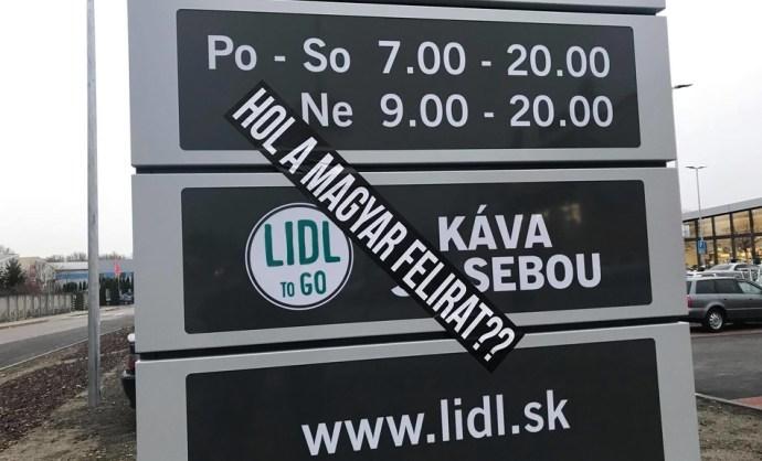 A komáromi Lidl-ben sincs magyar felirat