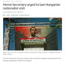 """Betiltatná Vona londoni gyűlését egy """"büszke cionista"""" politikus"""