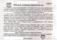 CSURKA LÁTNOKI SZAVAI 19 ÉVVEL EZELŐTT!