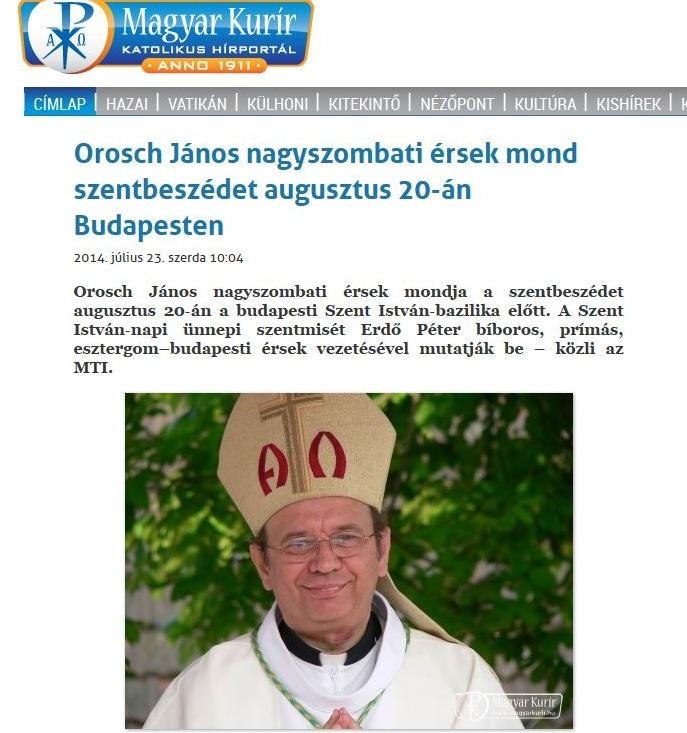 Erdő Péter bemutatja: magyargyűlölő tót érsek mondja a budapesti szentbeszédet augusztus 20-án