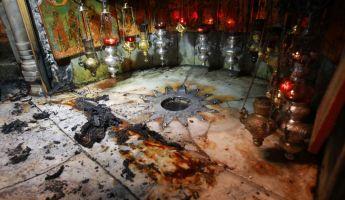 Tűzben megsérült a Születés barlangja Betlehemben