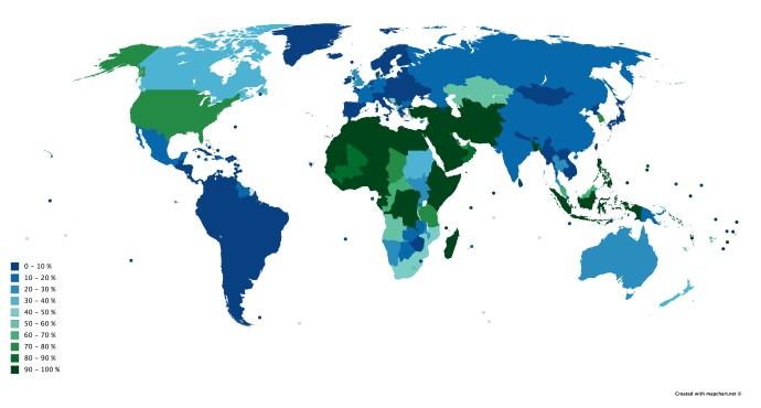 Térképen tanulmányozhatjuk a metéltek számarányát a bolygón