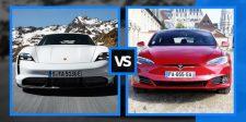 Tesla Model S vs. Porsche Taycan elektromos autók egymás ellen