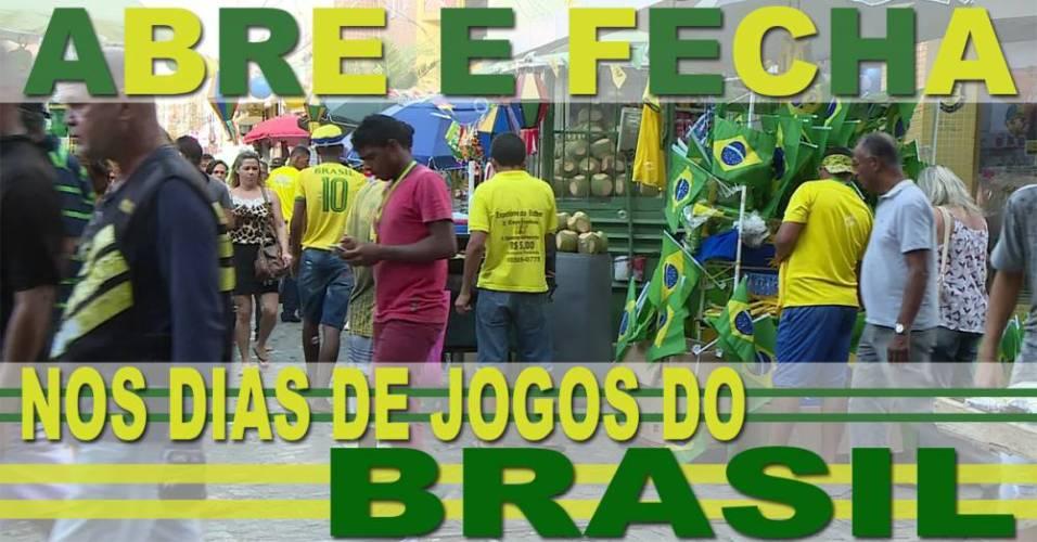 Confira o que abre e o que fecha nos dias de jogos do Brasil na Copa do Mundo