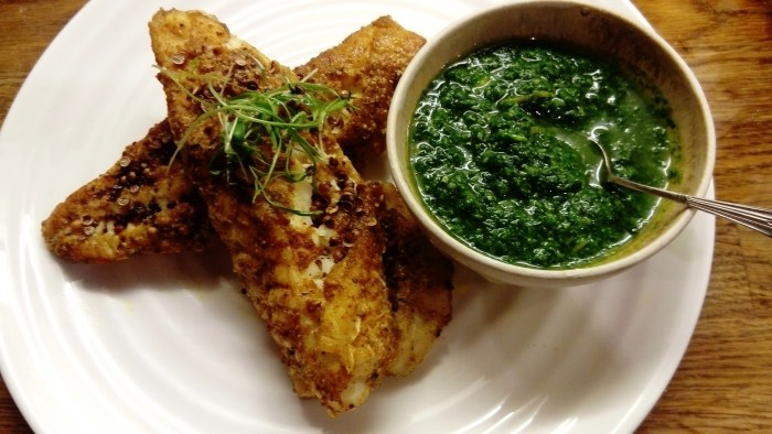 Photograph of fish recipe two: Roast Ras-el hanout Crusted Monkfish with Salsa Verde