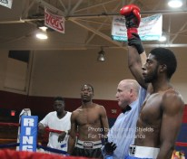 Allen Terry (right) of Miami earned his first professional win in his pro debut, Saturday, April 23, 2016 at PAL Gym in Elizabeth City.