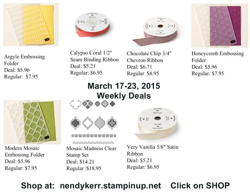 Stampin' Up! Weekly Deals March 17-23, 2015