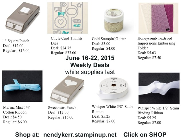 Stampin' Up! Weekly Deals June 16-22, 2015