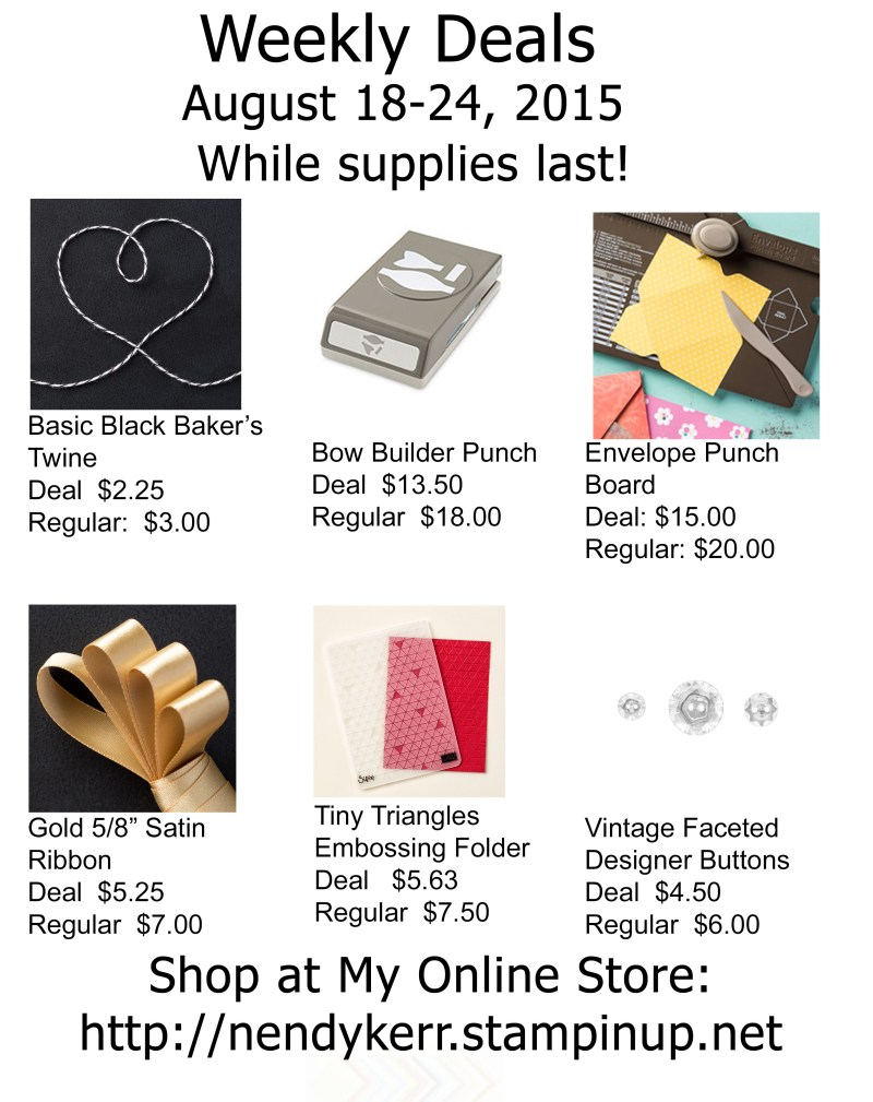 Stampin' Up! Weekly Deals August 18-24, 2015