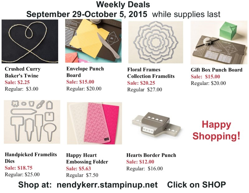 Stampin' Up! Sales Prices for September 29-October 5, 2015