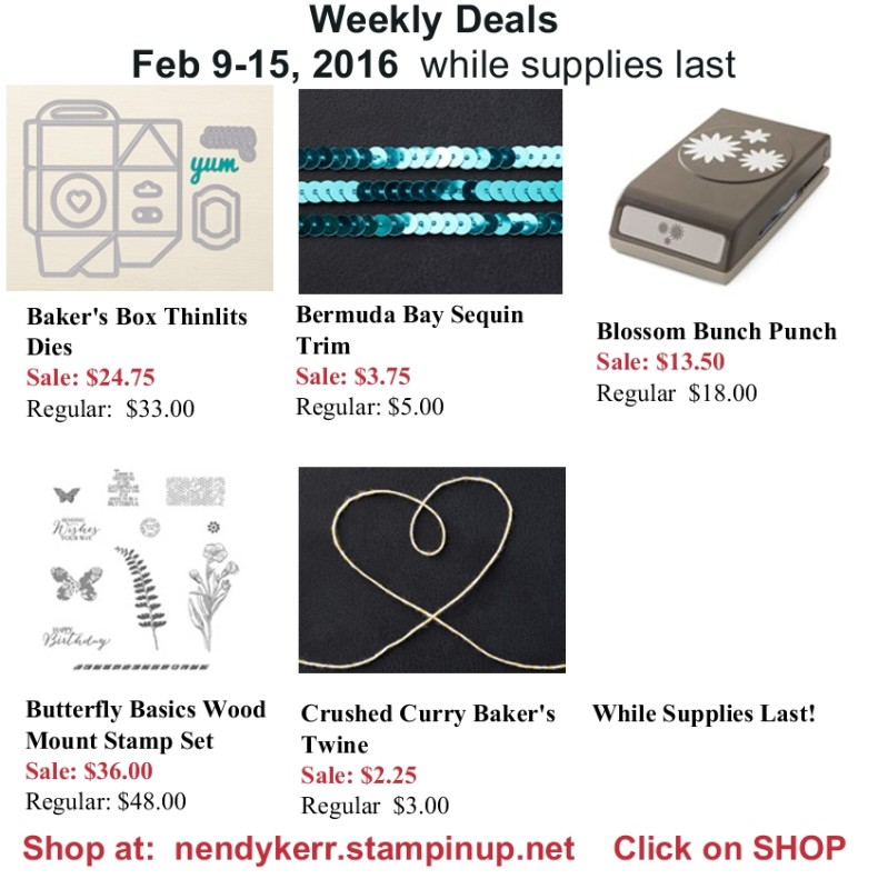 Stampin' Up! Weekly Deals February 9-15, 2016
