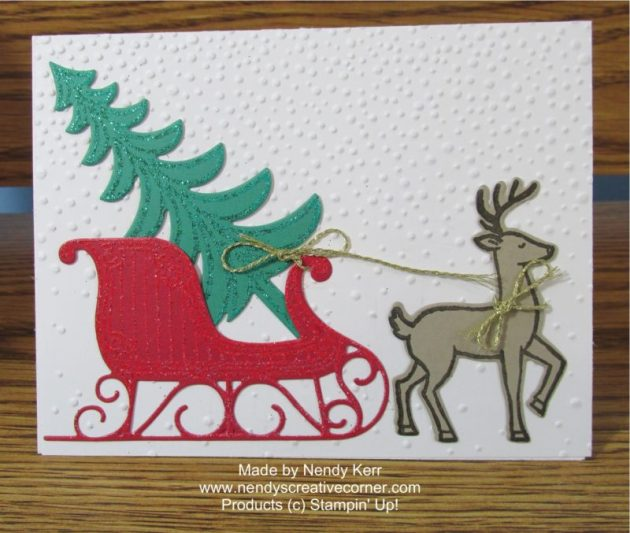 Santa's Sleigh will Christmas Tree and Reindeer Card