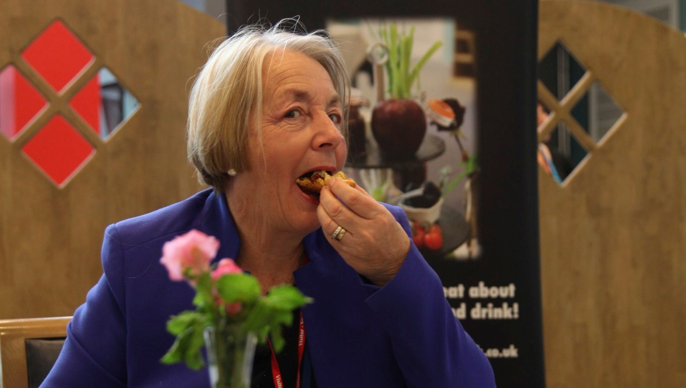 Cllr Heather Smith tucks in at the bake-off!