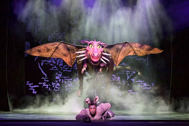 Marcus Ayton as Donkey. Shrek the Musical. Credit Helen Maybanks