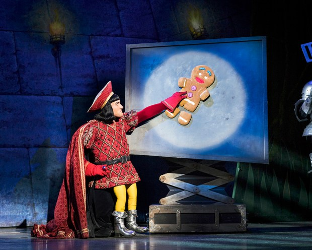 Samuel Holmes as Lord Farquaad. Shrek the Musical. Credit Helen Maybanks