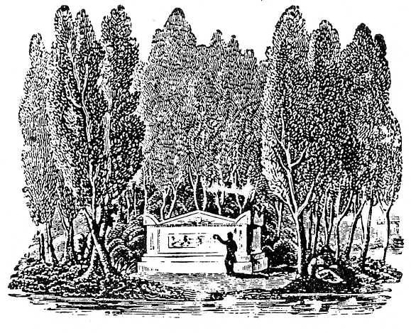 engraving 1848 Gen Cem Co document tomb and yews