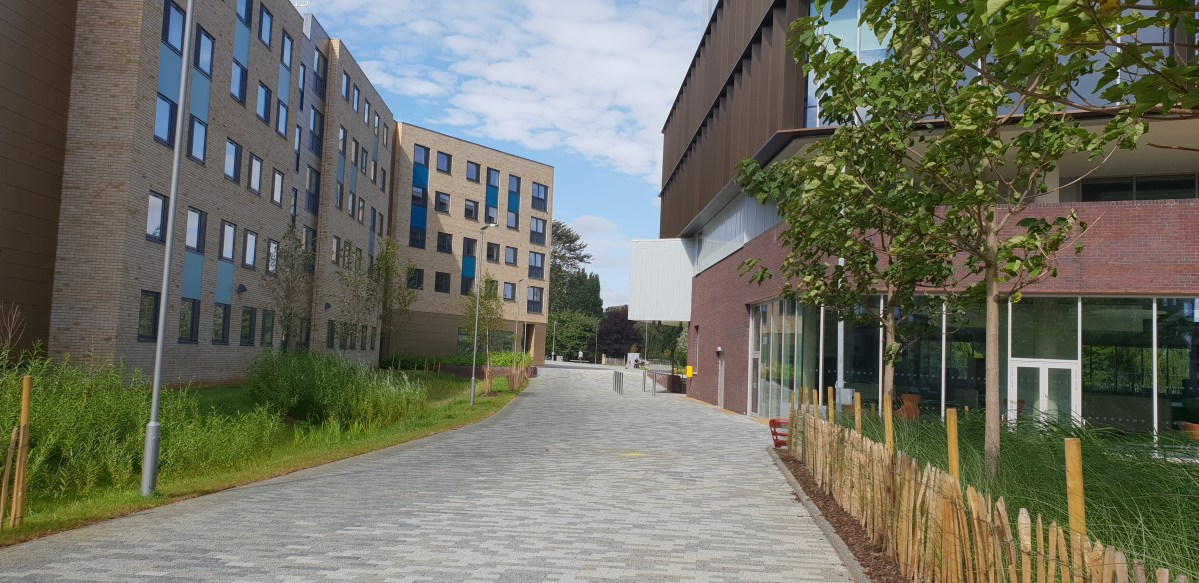 What does the University of Northampton Waterside campus look like days before the students arrive?