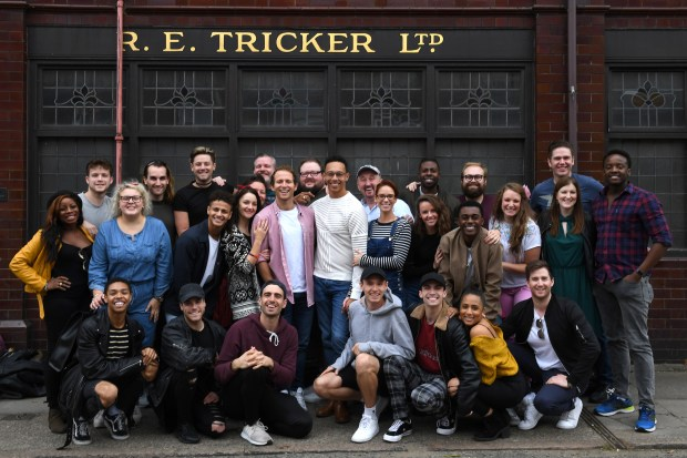 Cast of the Kinky Boots UK tour visits Tricker's in Northampton 005