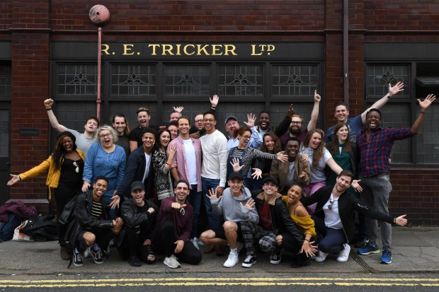 Cast of the Kinky Boots UK tour visits Tricker's in Northampton 007