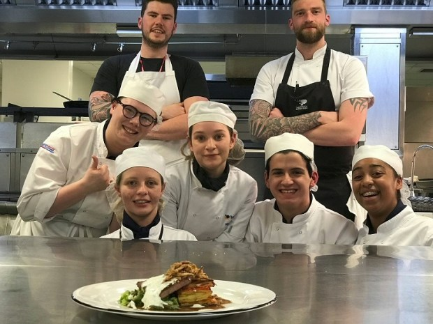 mains beef by Burnt Lemon chefs Moulton College binner March 2018
