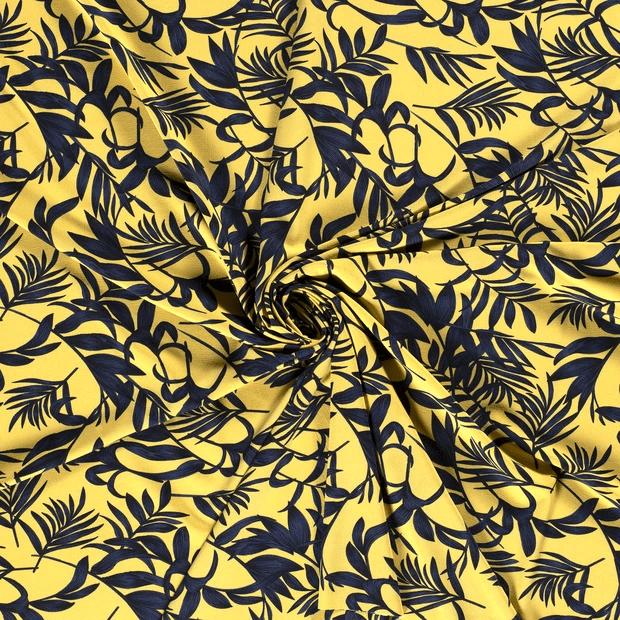 POLYESTER CREPE | Bladeren - geel