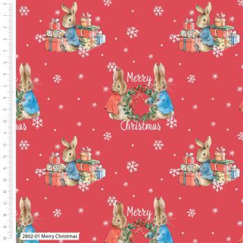 KATOEN | Bedrukt - Merry Christmas Peter Rabbit | Rood