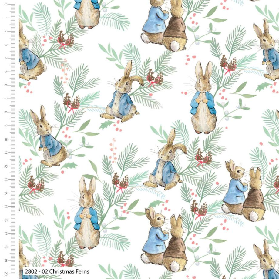 KATOEN   Bedrukt - Christmas Ferns Peter Rabbit   Wit