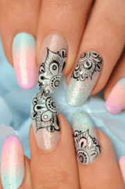intricate lace nail art design