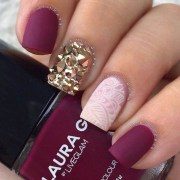 maroon nails design - nenuno