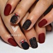 maroon nails design - nenuno
