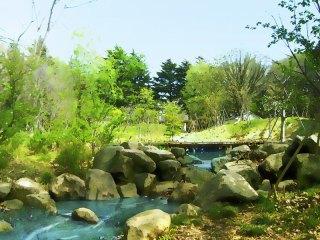 小川と橋 差分:日中/夕方/夜