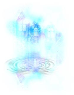 透明感のある家と波紋(4パターン)
