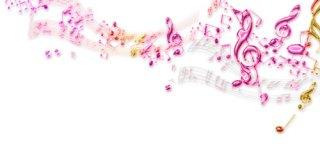 ガラスのような質感の五線譜と音符(10パターン)