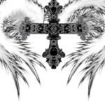 ペン画風の翼と十字架(8パターン)