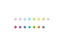 ぷっくりした質感の十字アイコン(透過GIF)(15パターン)