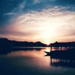 【高解像度】船着き場の夕暮れ(3パターン)