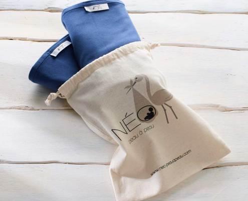 Sac deux écharpe Néo | bleu marine kangourou recommandée en puériculture pour les bébés à termes ou prématurés