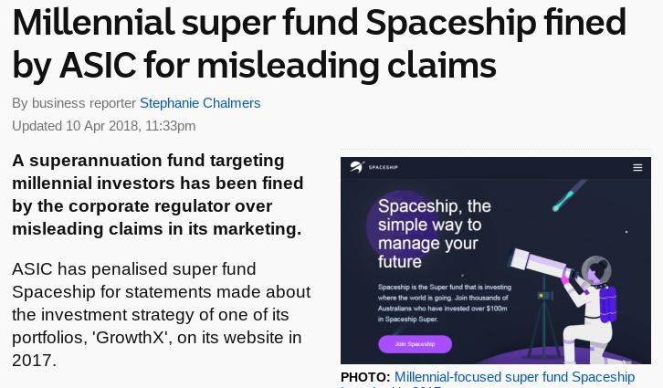 Spaceship super fund fined | Neobanks in Australia