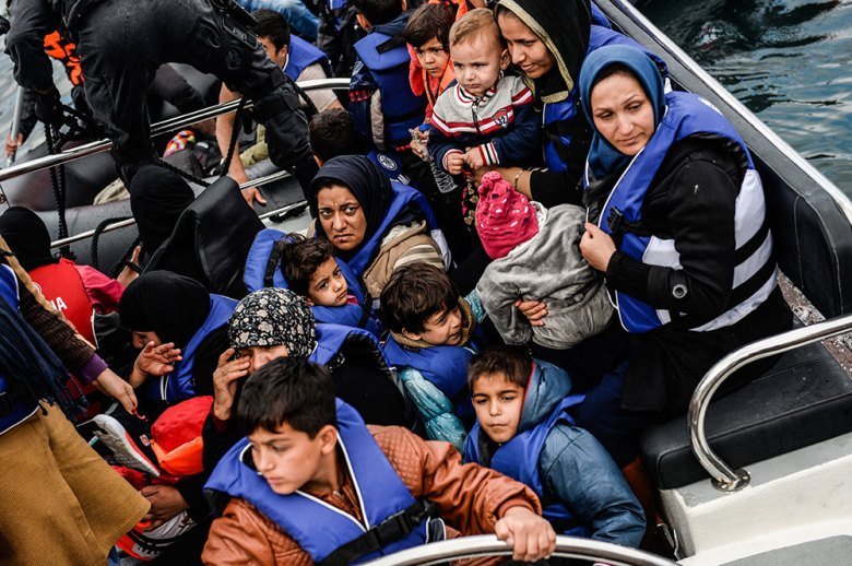 Refugees arriving in Greece