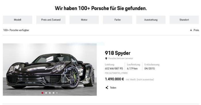 Online Shop Porsche