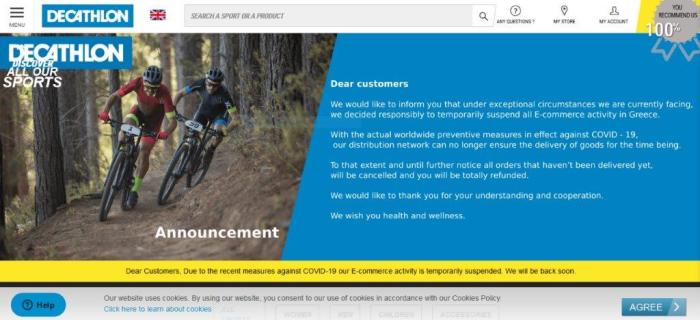 Decathlon has decided to temporalily suspend the eCommerce activity in Greece
