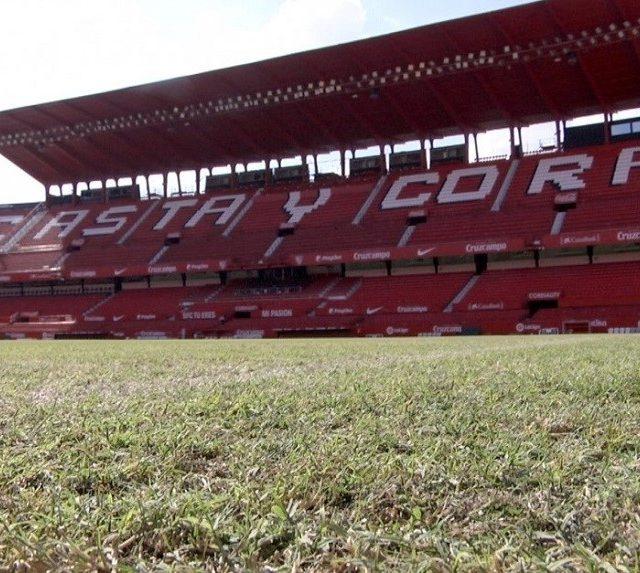 Imagen del césped del Ramón Sánchez Pizjuán, estado del Sevilla FC. Imagen: SevillaFC.es
