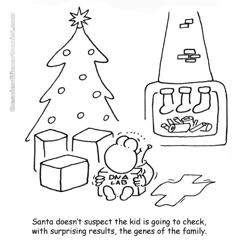 Papá Noel no sospecha que el niño comprobará, con sorprendentes resultados, los genes de la famila.