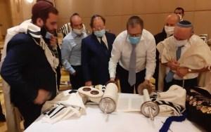 Abu Dzabiban helyi zsidókkal imádkozott az izraeli delegáció