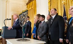 President Donald J. Trump, joined by First Lady Melania Trump, delivers remarks at a Hanukkah Reception Wednesday, Dec. 11, 2019, in the East Room of the White House. (Official White House Photo by Andrea Hanks)